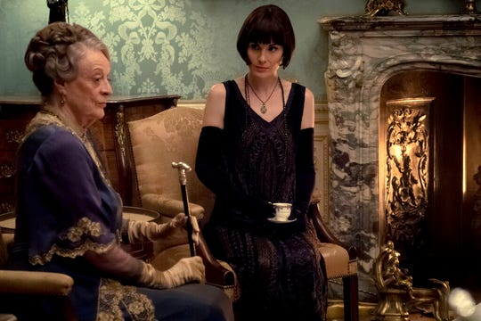 "Dame Maggie Smith as The Dowager Countess of Grantham and Michelle Dockery as Lady Mary Talbot in ""Downton Abbey."" The film is playing at Regal West Manchester, Frank Theatres Queensgate Stadium 13 and R/C Hanover Movies."