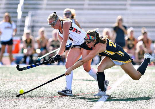 Central York's Emilee Myers, left, and Red Lion's Kennedy Bratton compete for control of the ball during field hockey action at Central York High School in Springettsbury Township, Wednesday, Sept. 18, 2019. Dawn J. Sagert photo