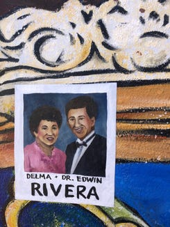 """Artist Ophelia Chambliss added an art piece in honor of the Edwin and Delma Rivera, to existing York City mural named """"History, Beauty and Diversity of Olde Towne East."""""""