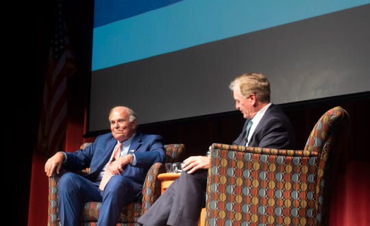 Former Pennsylvania Governors Ed Rendell (left) and Mark Schweiker sit on stage during the inaugural Democracy Challenge at Waldner Performing Arts Center on Wednesday, Sept. 18, 2019.