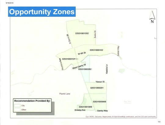"A map of Opportunity Zones that developers can potentially build in for the proposed ""1,000 Homes in 120 Days"" pilot program from the city of Reno."