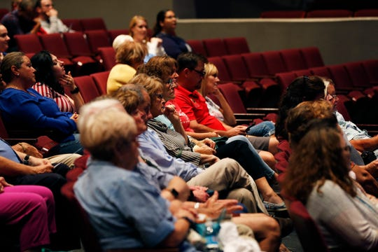Audience members listen during the opening moments of HYPE Richmond's mayoral debate at Civic Hall Performing Arts Center on Tuesday, Sept. 17, 2019.