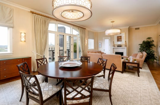 A table area shares open space with living room space.