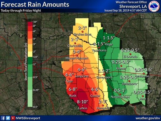 Heavy rainfall associated with the remnants of Imelda is looking increaslingly likely. The greatest amounts may reach into the 6-10 inch range through Friday night. This is likely to result in flash flooding acros portions of Deep East Texas.