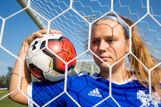 Senior Ellie Schock plays as a forward for Sioux Falls Christian soccer team.