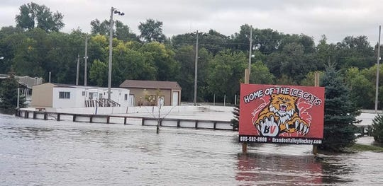 The entire Brandon Valley outdoor hockey complex underwater on Friday, Sept. 13.