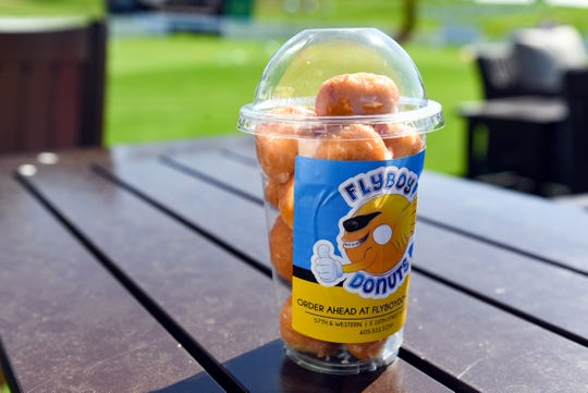 "Flyboy Donuts offers a container of donut holes that they are calling ""a bucket of balls"" at the Sanford International tournament."