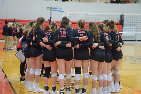 Brandon Valley volleyball team during a timeout in a match on Tuesday, Sept. 17 vs. Harrisburg.