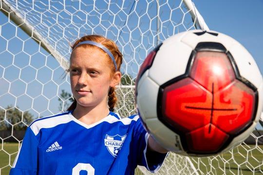 Ava Schock plays as a midfielder for Sioux Falls Christian soccer team.