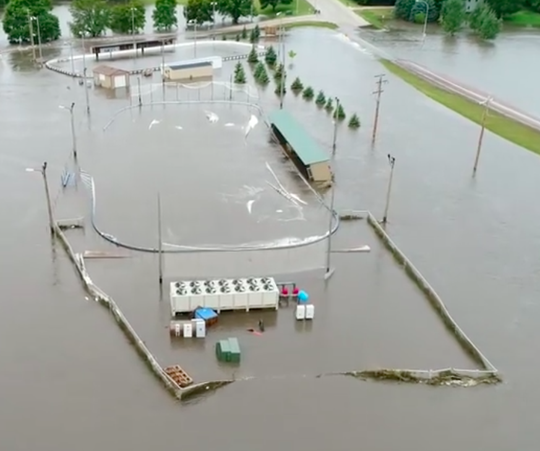 The entire outdoor Brandon Valley hockey venue underwater on Friday, Sept. 13.