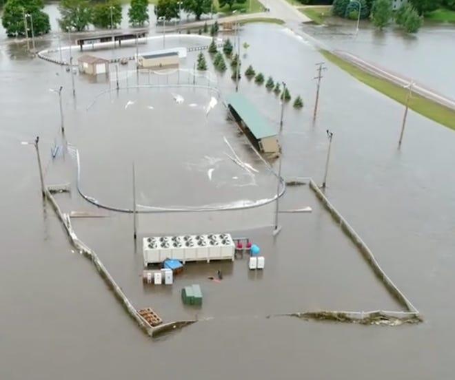 The entire outdoor Brandon Valley hockey venue underwater on Friday, Sept. 13.