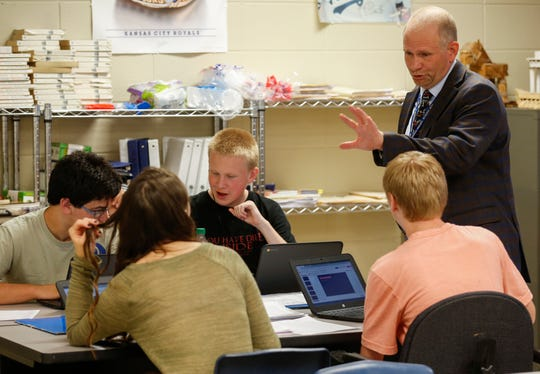 Chris Ford, superintendent of the Fordland school district, talks to students at Fordland High School on Sept. 16.