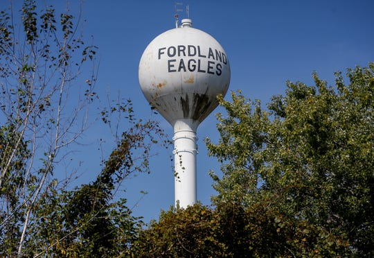 The water tower in the Webster County town of Fordland.