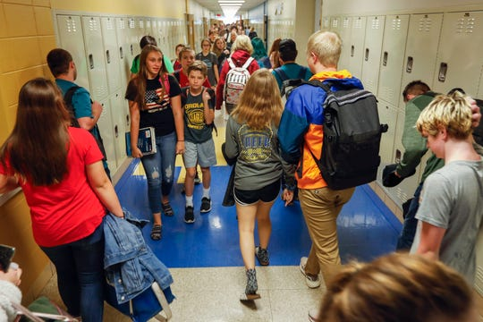 Students walk through the hall between classes at Fordland High School on Sept. 16. In recent years, Fordland High has repeatedly been named one of America's Best High Schools by U.S News & World Report.