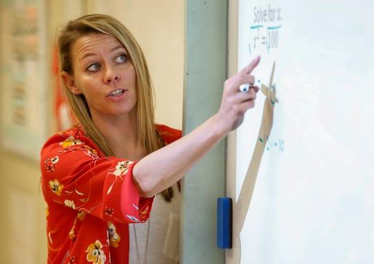 Kristen Brown, a teacher with the Fordland school district, teaches an eighth-grade math class on Sept. 16.