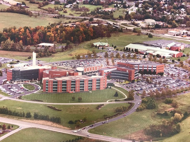 Aerial photo of Augusta Medical Center in Fishersville, Va., while construction was underway on March 7, 1994.