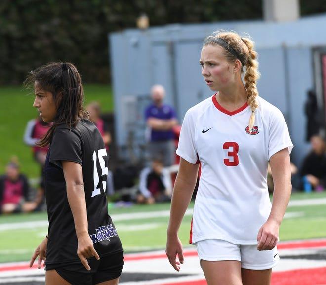 Senior Kristine Knief looks on during a game against the University of Bridgeport Saturday, Sept. 14, 2019, at Husky Stadium.