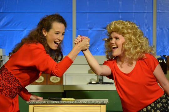 "Sarah Reid Vinyard as Maude Mix, left, and Alexa Roddenberry as Hannah Mae Bindler in Theatre Tallahassee's production of ""A Coupla White Chicks Sitting Around Talking."""