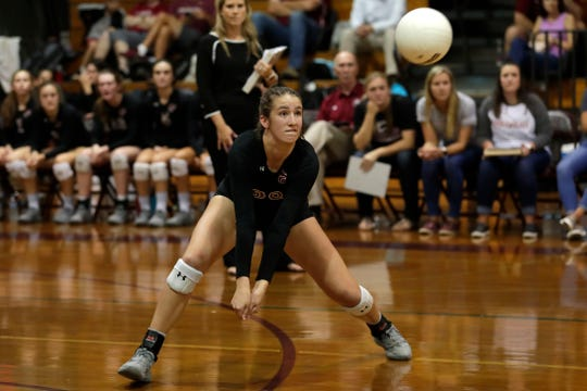 Chiles sophomore Anna Corry reads a ball to dig as the Timberwolves defeated Florida High in five sets Tuesday, Sept. 17, 2019.
