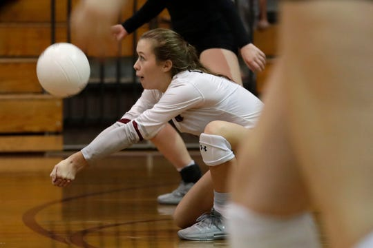 Chiles Timberwolves libero Addison Hultquist (8) digs a hit. The Chiles Timberwolves defeated the Florida High Seminoles after a hard fought five sets Tuesday, Sept. 17, 2019.