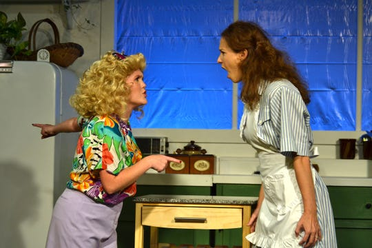 """A Coupla White Chicks Sitting Around Talking"" starring Alexa Roddenberry as Hannah Mae, left, and  Sarah Reid Vinyard as Maude in the Theatre Tallahassee production."