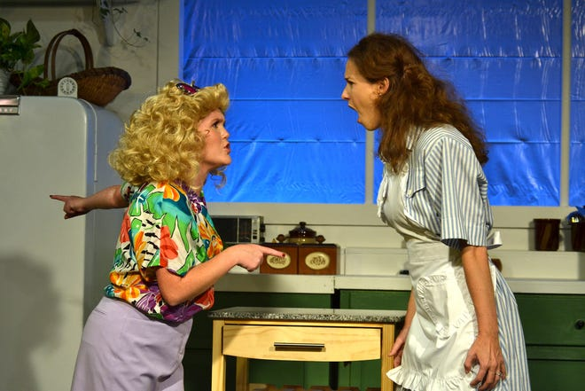 """""""A Coupla White Chicks Sitting Around Talking"""" starring Alexa Roddenberry as Hannah Mae, left, and  Sarah Reid Vinyard as Maude in the Theatre Tallahassee production."""