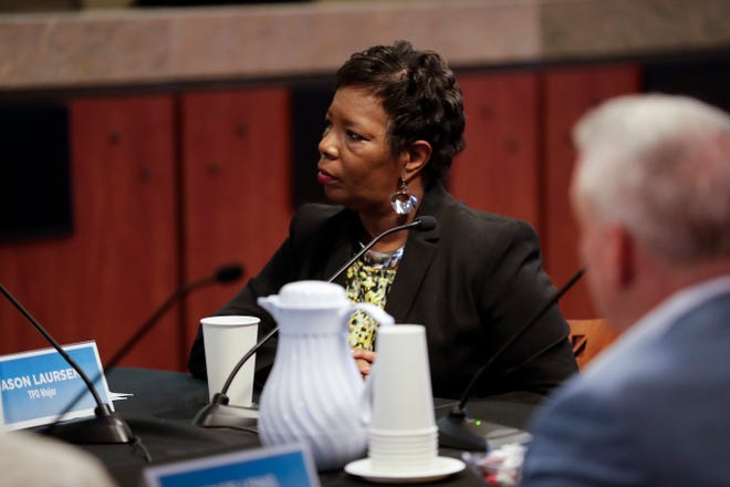 Deputy City Manager Cynthia Barber listens during a joint meeting between officials from the City of Tallahassee and Leon County at City Hall Wednesday, Sept. 18, 2019.