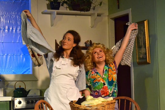 "Sarah Reid Vinyard as Maude Mix and Alexa Roddenberry, right, as Hannah Mae Bindler in ""A Coupla White Chicks Sitting Around Talking,"" running at Theatre Tallahassee."