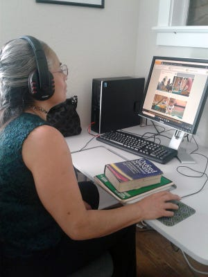 Marie A. takes the CASAS online assessment at Learn to Read St. Lucie's Learning Center in Fort Pierce. The assessment was funded through a $10,000 grant from the Dollar General Literacy Foundation.