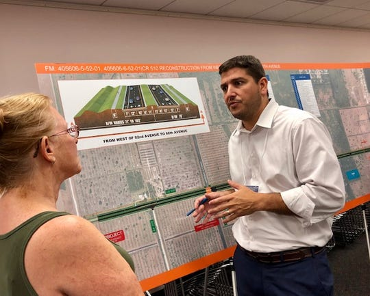 Carlos Rodriquez, a consultant to the Florida Department of Transportation from Metric Engineering in Miami, explains some of the roadway improvements for County Road 510  between 58th and 82nd avenues.