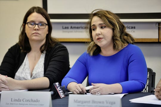 Attorneys Jessica Miles of Miles Immigration law and Linda Corchado of Las Americas Immigrant Advocacy Center during Wednesday's press conference about two Indian asylum seekers on hunger strike.