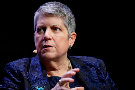 This March 7, 2018 file photo shows University of California President Janet Napolitano at a meeting of The Commonwealth Club in San Francisco. At a meeting of the UC regents at UCLA Wednesday, Sept. 18, 2019, Napolitano announced that she will be resigning the presidency, effective in 2020.