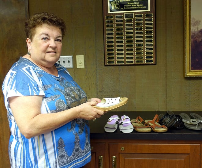 """Norene Ritter, past president of the Woman's Club of Vineland, is leading a project to collect shoes for """"Soles 4 Souls."""""""