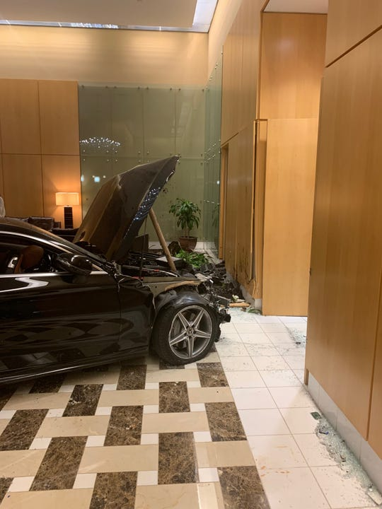 A 2018 Mercedes-Benz moments after it smashed into the lobby of the Trump Plaza apartment building in New Rochelle Sept. 17, 2019. The driver and building concierge suffered minor injuries.
