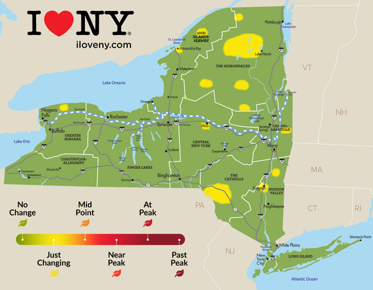 2019 leaf peeping conditions are updated weekly by volunteer spotters throughout New York State. September conditions show just a hint of change.