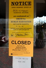Notices from the city of Wilmington and the Department of Health and Human Services say the Govatos Chocolates building at 800 N. Market Street must be closed and vacated as seen in September 2019.