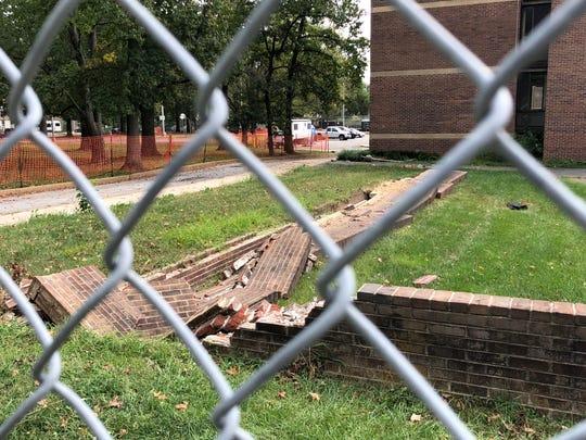 Demolition of UD's Rodney complex in Newark began Monday.