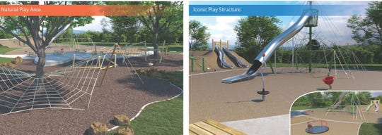 A rendering of the play areas at the future stormwater facility and park on Hillside Road in Newark. The park will be built in place of the Rodney complex, which is being demolished this fall.