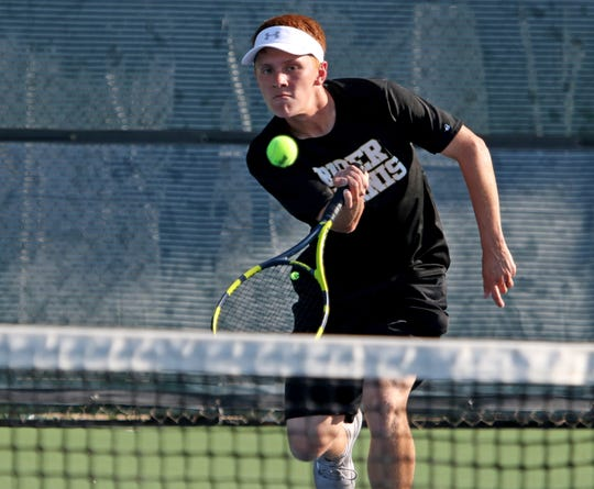 Michael Moser had the clinching victory for Rider in its team tennis match with Wichita Falls High on Tuesday.