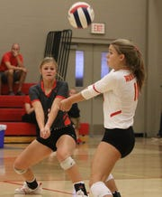 Christ Academy's Haley Carnes passes in the match against Notre Dame Tuesday, Sept. 17, 2019, at Christ Academy.