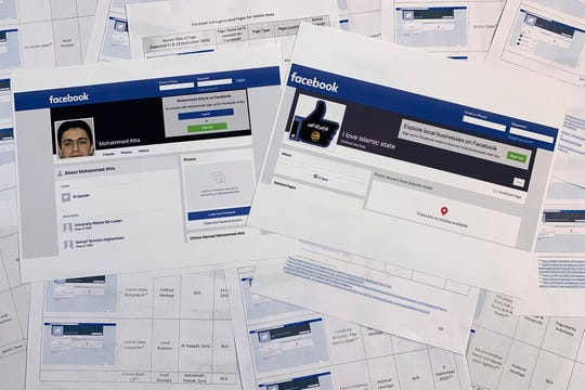 Pages from a confidential whistleblower's report obtained by The Associated Press, along with two printed Facebook pages that were active on Tuesday, Sept. 17, 2019, are photographed in Washington.
