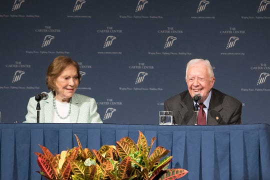 Former President Jimmy Carter and Rosalynn Carter talk about the future of The Carter Center and their global work during a town hall, Tuesday, Sept. 17, 2019, in Atlanta. (Branden Camp/Atlanta Journal-Constitution via AP)
