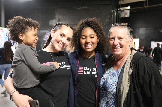 Ashleigh Carter, her daughters Asia and Amara and her mother at the 2019 Los Angeles Day of Empathy powered by #cut50.