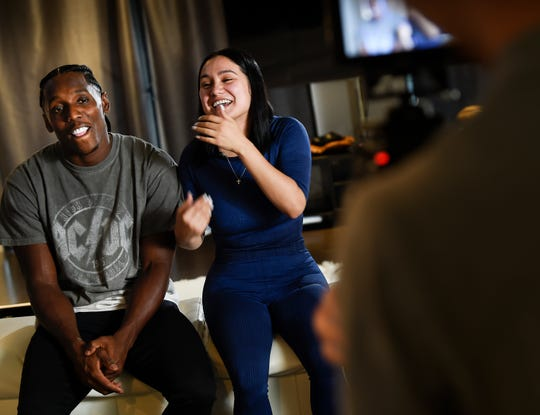 Tennessee Titans cornerback Adoree' Jackson shares a laugh with his girlfriend Veronica Parada as the film a promotional video for the reality show Jackson will host at his home Friday, Sept. 13, 2019 in Nashville, Tenn.
