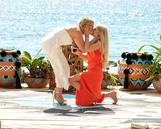 """Demi Burnett (right) made """"Bachelor"""" franchise history with the first LGBTQ proposal on """"Bachelor in Paradise"""" to Kristian Haggerty (left)."""