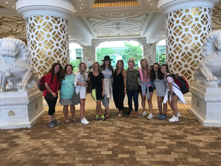Rikki Kahley and her bachelorette party in the Bahamas.