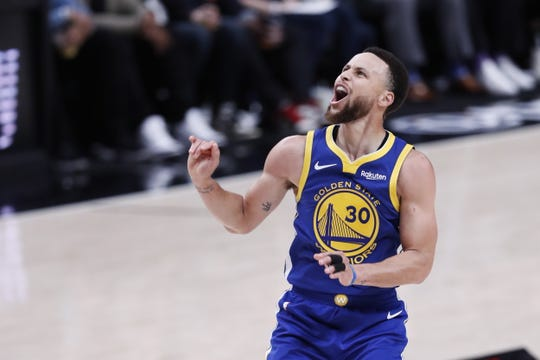 Golden State Warriors guard Steph Curry in reacts during the NBA Western Conference Playoff Finals game three between the Golden State Warriors and the Portland Trail Blazers at the Moda Center in Portland, Oregon, USA, 18 May 2019.