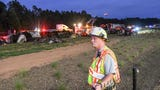 Chris Trotter, assistant chief at Piercetown Fire Department in Anderson County, gives an update after two 18-wheelers collided on I-85 on Thursday, Sept. 19, 2019.