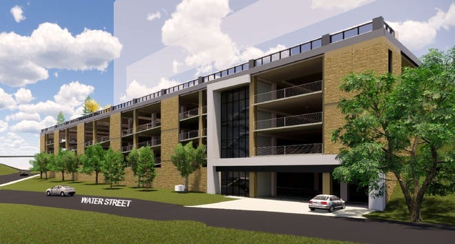 A rendering by Hoffman Planning, Design & Construction shows the south elevation of a four-level, 642-stall city parking ramp that will be built on Bluff Site 1 in downtown Appleton. U.S. Venture will construct its new headquarters on top of the ramp.