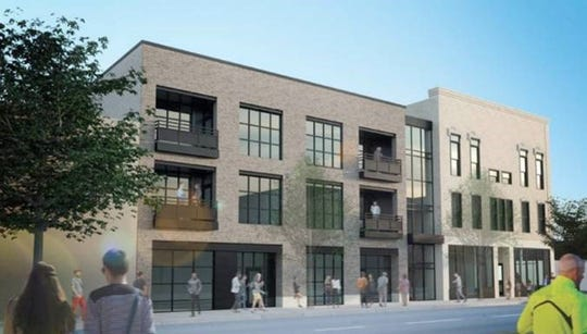 "Rendering of Gabriel Lofts, an apartment development, shows its new construction at left and ""historic"" side on right. The historic side will include restoration of the original brick facade, not shown in detail here."